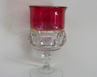 Indiana Glass Kings Crown Thumbprint Ruby Flash Water Goblet