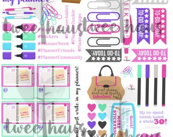 PRINTABLE Planner Addict Stickers for Erin Condren Horizontal Planner