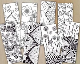 Zentangle Digital Bookmarks Bundle / Lesezeichen FLOWERS /  zum downloaden / Coloring and relaxing / JPG und PDF
