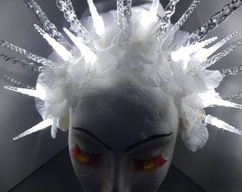 Ice queen snow king frozen princess light up crown headdress headpiece fantasy costume