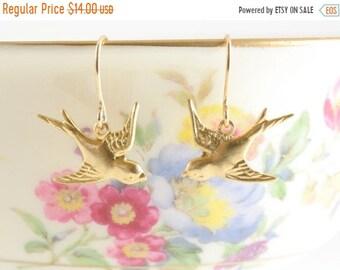 25%OFFSALE Tiny Gold Bird Earrings, Golden Swallow Earrings, Dangle Bird Earrings, Wedding Jewelry, Feather Earrings