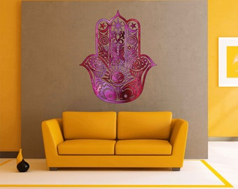 Hand of Hamsa Wall Decal Hamsa Fatima Vinyl Decal Hamsa watercolor Wall Decals Indian ornament Wall Decals cik1843