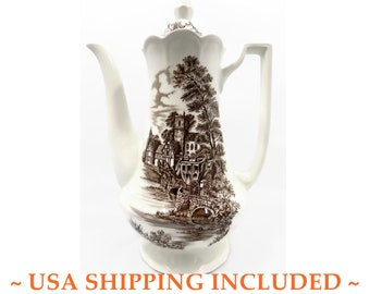 Vintage Ironstone Coffee Pot, J. & G. Meakin, Stratford Stage                  Brown Pattern