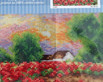 Needlepoint tapestry, field of poppies,  24 x 30 cm, ref 2182
