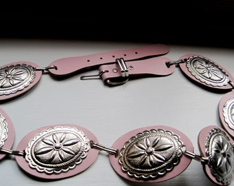 VINTAGE PINK Leather CONCHO Belt Old West Cowgirl Western