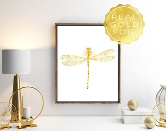 Gold Dragonfly Print - Gold Foil Print - Dragonfly Wall Art - Entomology - Dragonfly Art Print - Insect Print - Dragonfly Poster - Gold Art