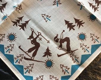 "Vintage Ski, Skiers Handkerchief // 10"" > cabin style > teal border, pine trees, sun, snow, mountains, Alpines > unused"