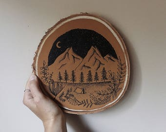 Beneath the Stars Painted and Illustrated Wood Slice