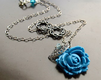 Antiqued Blue Rose Leaf Drop Necklace