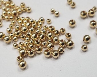 14K Gold Filled Round Beads, 2mm, 2.5mm, 3mm,50 Pieces