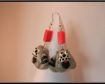 Boucles d'oreille chat en Fimo.