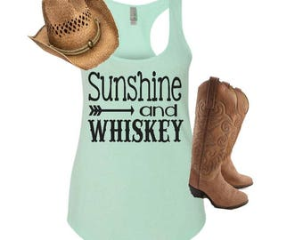 Sunshine and whiskey, sunshine and whiskey tank, womens racerback tank, country tee, whiskey tank