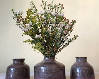 Set of Three Handmade Ceramic Bud Vases