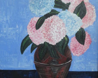 Oil Painting, Original Portuguese Art Work, Hydrangeas