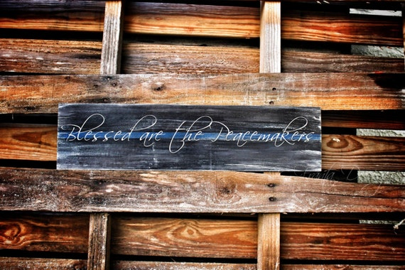 Thin Blue Line Blessed Are The Peacemakers Distressed Wood