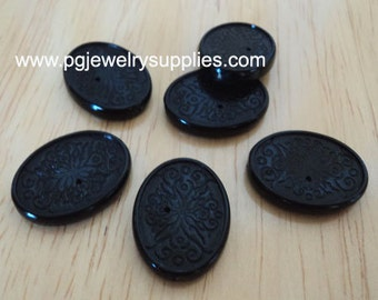 18mm x 13mm channel beads setting has holes lengthwise black 6 pcs lot l