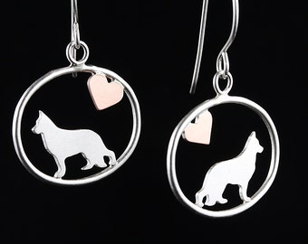 German Shepherd Sterling Silver Dog Silhouette Dangle Earrings with Tiny Heart