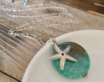 Sunrise starfish necklace, cracked agate stone necklace, aqua starfish, sterling silver necklace, beach, ocean, sea, one of a kind