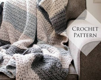 Let's Stay Home Blanket Crochet Pattern // PDF Pattern Throw Blanket for Two Neutral Stripe Texture Chunky Couch Afghan Beginner Friendly