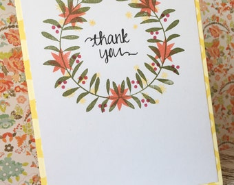 Thank You Card - Laurel Wreath Card - Green Floral Thank You Card Card - Wreath Thank You Card