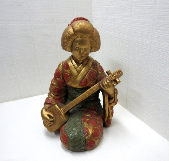 Vintage Large Golden Geisha Playing Shamisen Chalkware Statue Progressive Art Products 1966