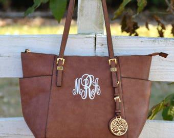 Monogram Purse Bag Tote, Beautiful Brown Monogrammed Purse , Brown Monogram Handbag
