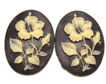 Cab Cabochon Cameo Acrylic Resin Flower Ivory on Black, 40x30mm, 5 Qty