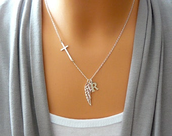Personalized Angel Wing Necklace - Sideways Cross Necklace  / Wing and Cross Personalized Jewelry - Sterling Silver 925