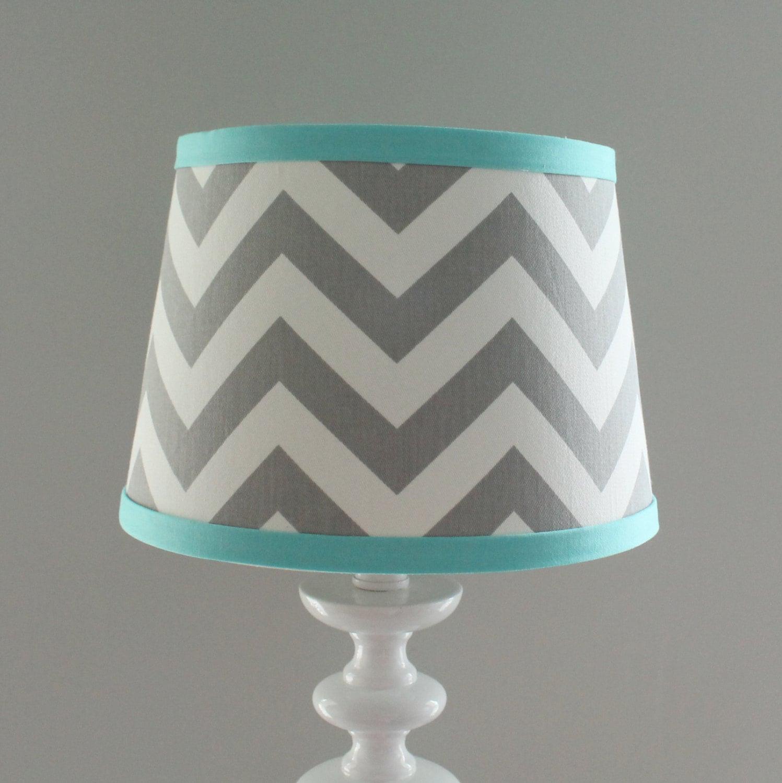 Small Gray White Chevron lamp shade with accent Aqua blue