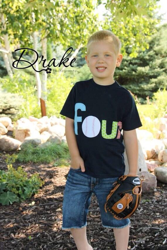 Baseball 4th birthday shirt, four baseball birthday shirt