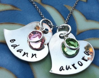 Double Hearts Hand Stamped Personalized Necklace w/ Birthstones - Mom - Grandmother - Wife - Girlfriend - Best Friend - Sister - New Mom