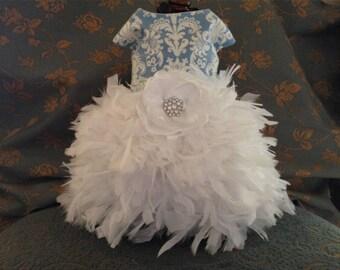 Something Blue Wedding Dog Dress (Feather or Tulle Skirt)