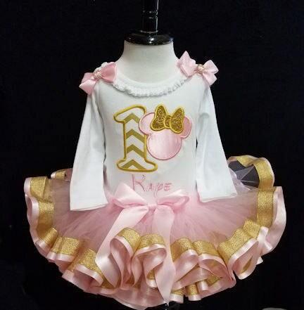 1st Birthday Tutu Pink And Metallic Gold Minnie Mouse First Birthday