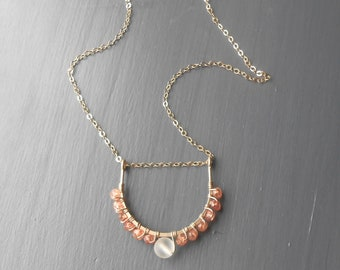 Gold Sunstone Necklace, Wire Wrapped Gold Filled Gemstone Pendant