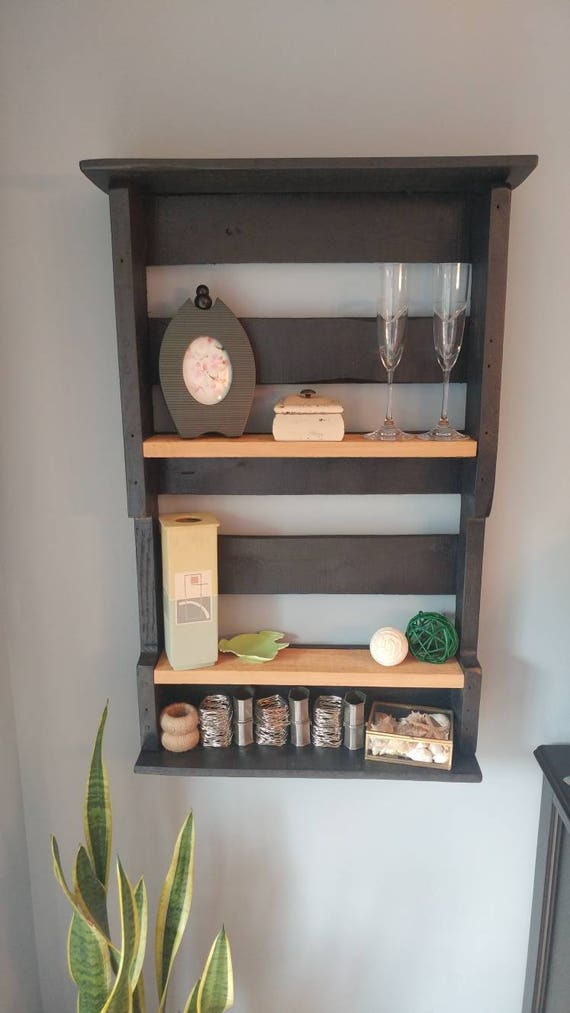Pallet wood wall shelf with cedar shelves.