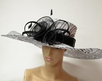 Black/white printed Sinamay Hat,Fashion, Fancy, Elegant and Beautiful Kentucky Derby Hat, Wedding ,Church,Formal,Dressy Hat,Downton Abbey