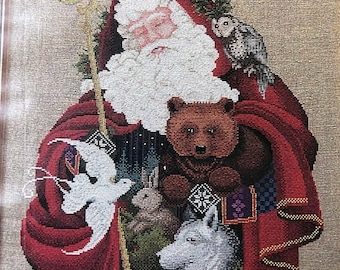 APRILSALE Lavender & Lace, Told in a Garden, Santa of the Forest, Stitch Count, 200 by 247, Vintage, Counted Cross Stitch Pattern