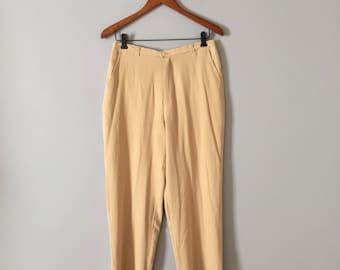 Tommy Bahama silk pants | 90s sand yellow silk high waisted cigarette pants