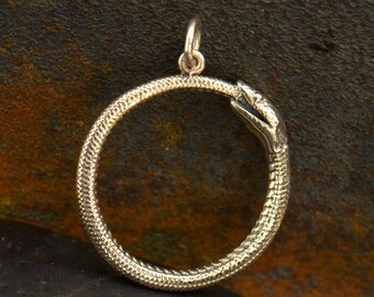 Sterling Silver, Ouroboros Snake, Snake Pendant, Oxidized Snake, Silver Snake, Snake Charm, Ouroboros Charm, Serpent Charm, Silver Ouroboros