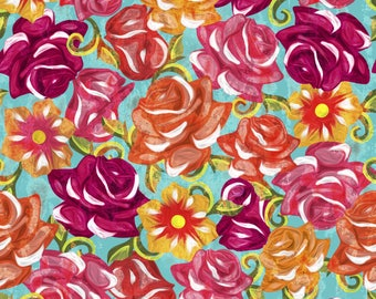 Painted roses Cotton Fabric