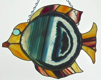 Teal Fish Stained Glass