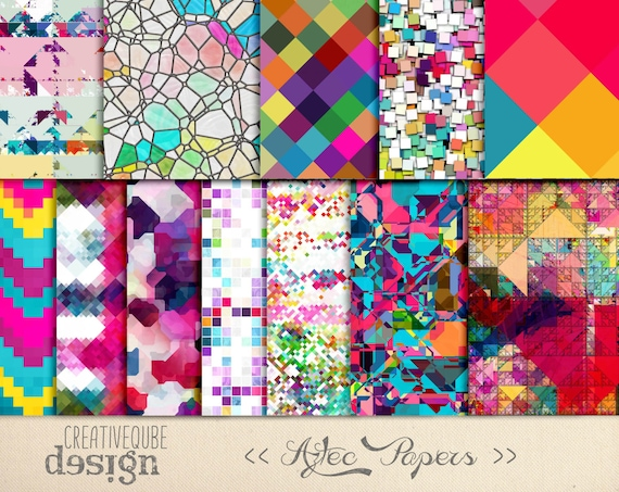 Digital Paper - Aztec Tribal, Triangular Backgrounds, Digital Scrapbook Paper, Geometric Clip Art, Graphics