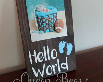Baby Boy Picture Frame.Hello World Picture Frame.Baby Gift.Baby Boy.Newborn Gift.Display Picture.Nursery Decor.Baby Room Decor.Baby Boy