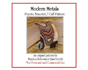 Peyote Bracelet Pattern ... MODERN METALS ... Metallic Cuff . Swirly . Mod . Elegant . Chic . Evening Wear . Make Your Own . 3 for 2
