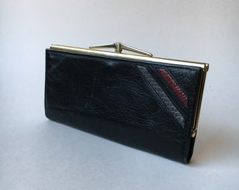 Buttery black goatskin leather vintage kisslock wallet Tilley Canada snakeskin detail grey burgundy