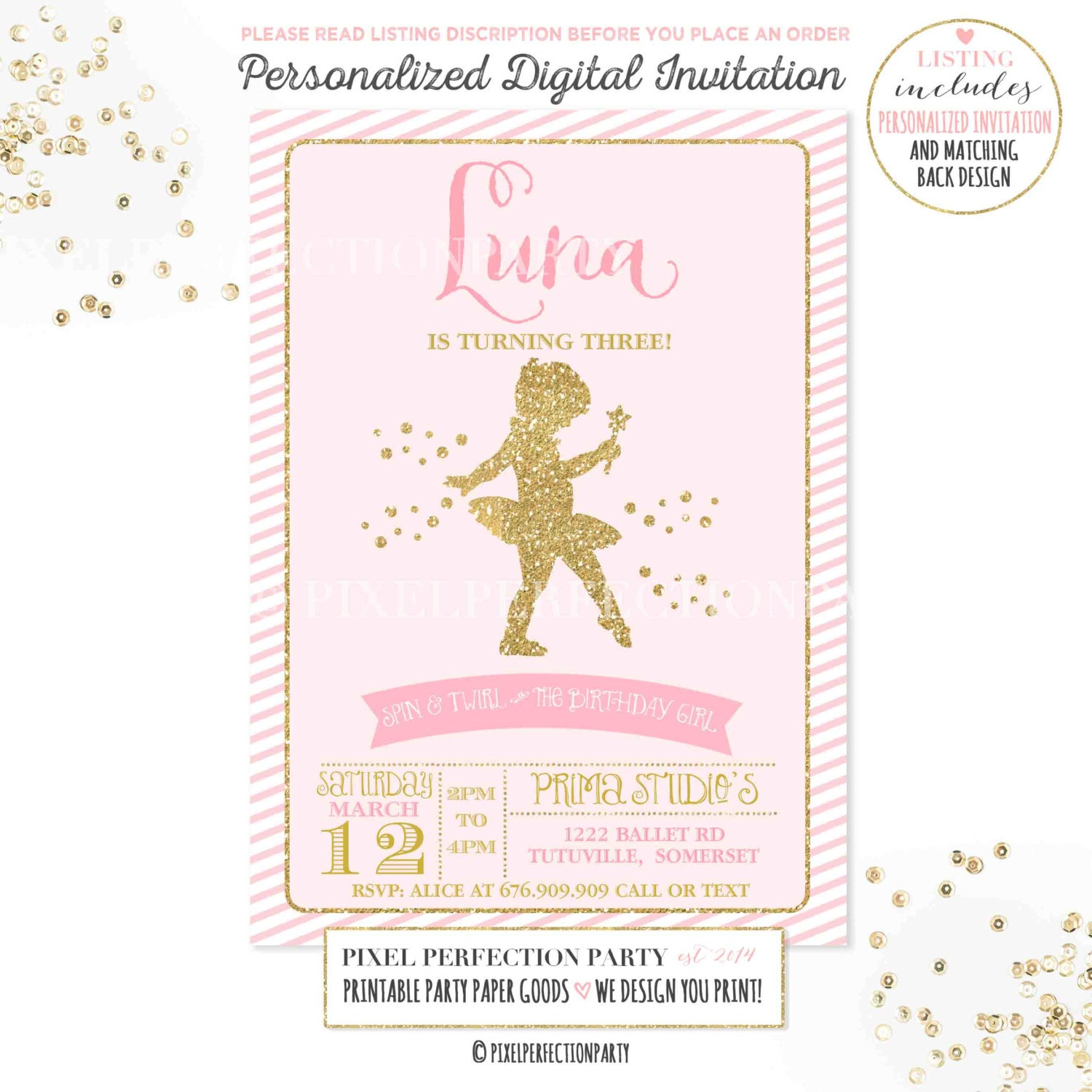 Ballerina Invitation Ballerina Birthday Invitation Ballerina