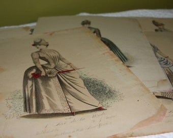 5 Vintage Illustration L'Art de la Mode French Fashion Prints Magainze WJ Morse