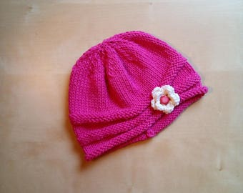 Cotton Baby hat and crochet cap and wool pink cyclamen fuchsia-cotton hat-spring cap-crochet flower