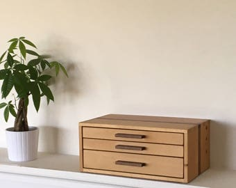 Beech Wood Box with Walnut Stripe