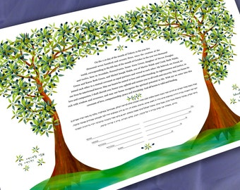 Ketubah - Double Olive Tree of Life
